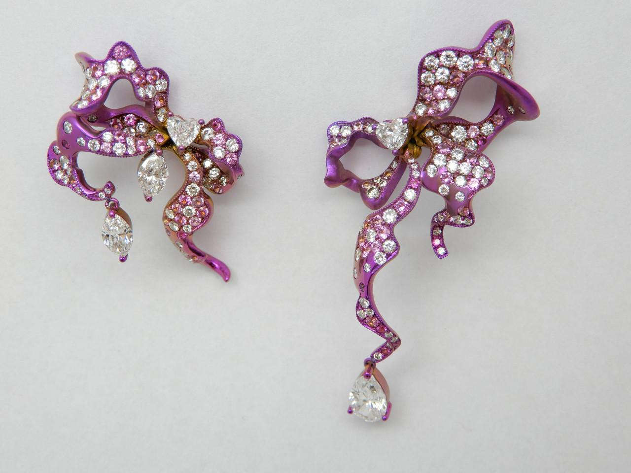 蝴蝶結耳環Pink1